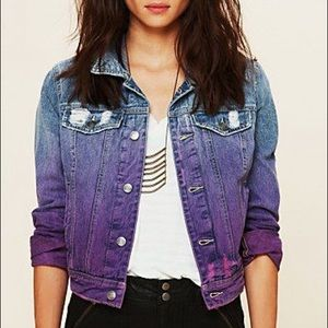 Free People ombré dip dyed jean denim jacket